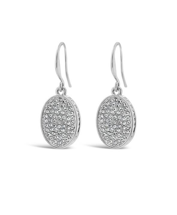 ABSOLUTE CRYSTAL COVERED OVAL DROP SILVER EARRINGS E2069SL