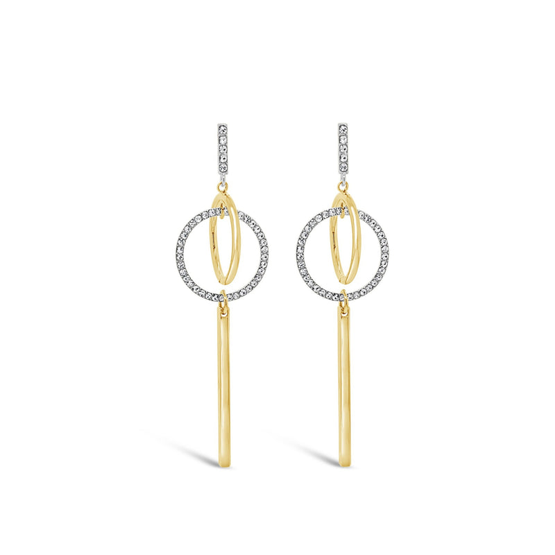 ABSOLUTE CONTEMPARY DOUBLE CIRCLE DROP EARRINGS E2084
