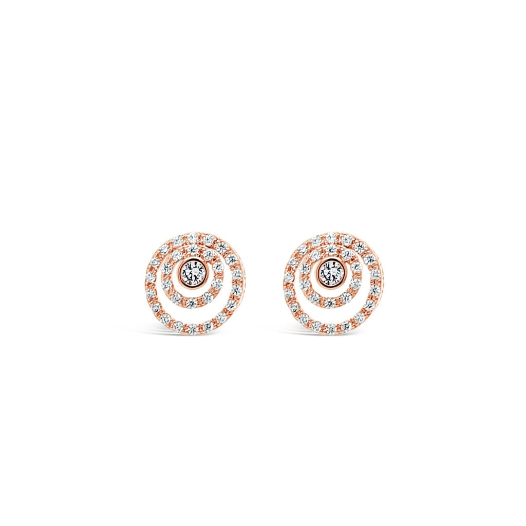ABSOLUTE CRYSTAL THREE CIRCLE STUD EARRINGS E2015