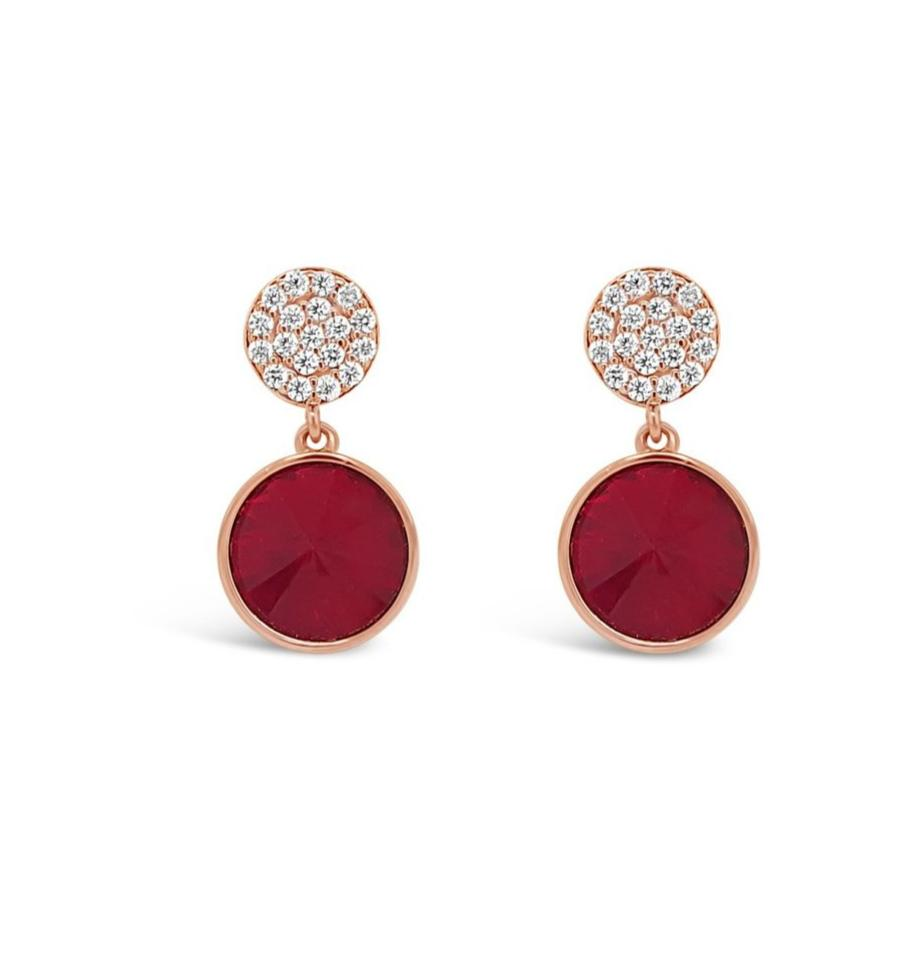 ABSOLUTE CRYSTAL DISC AND COLOURED STONE DROP EARRINGS E2123