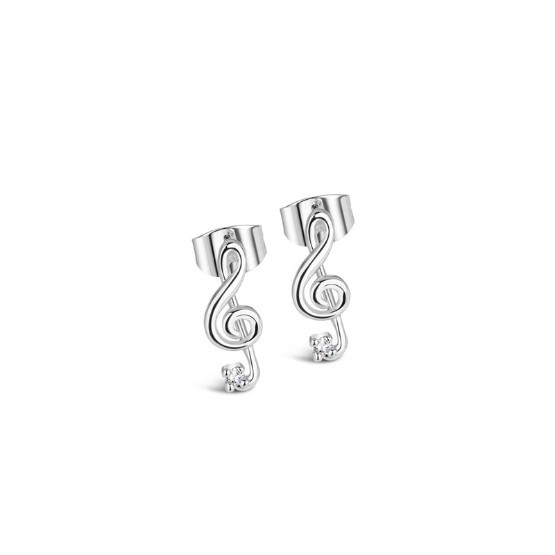 silver treble clef earring with clear stones
