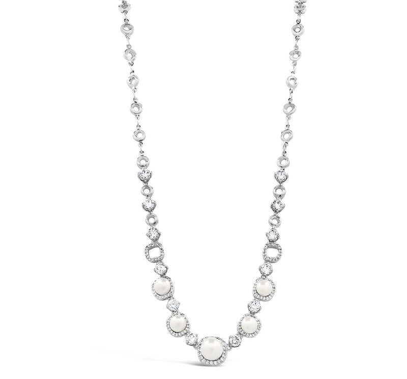 ABSOLUTE SILVER & PEARL NECKLACE WITH CRYSTALS N2002SL