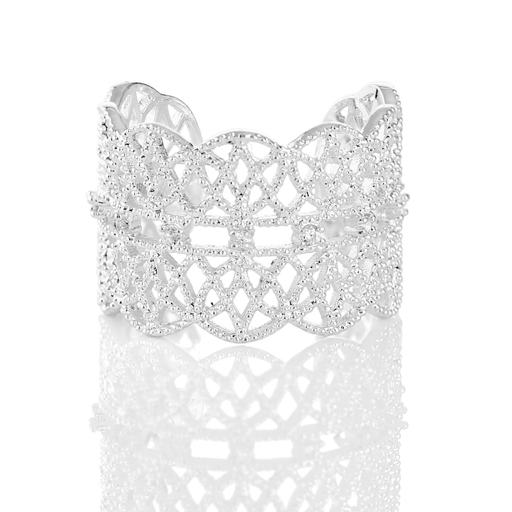 NEWBRIDGE SILVER ADJUSTABLE LACE RING R2327SR