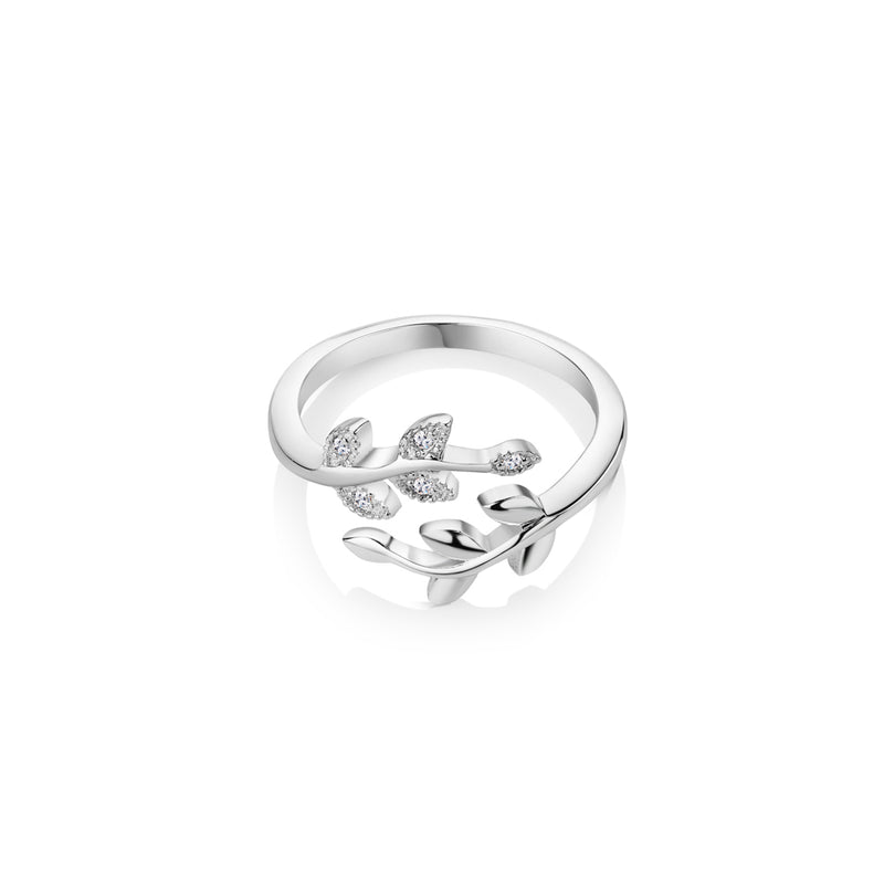 NEWBRIDGE SILVER ADJUSTABLE LEAF RING WITH CLEAR STONES R2411