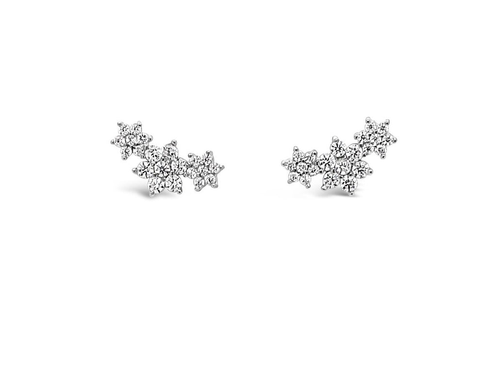 ABSOLUTE STERLING SILVER TRIPLE STAR CRYSTAL EARRING SE181SL