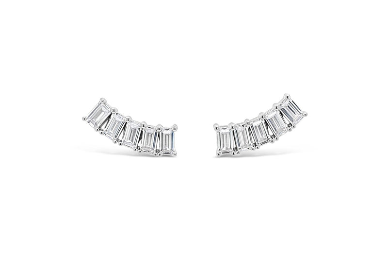 ABSOLUTE STERLING SILVER RECTANGULAR EAR CLIMBER EARRING SE184SL