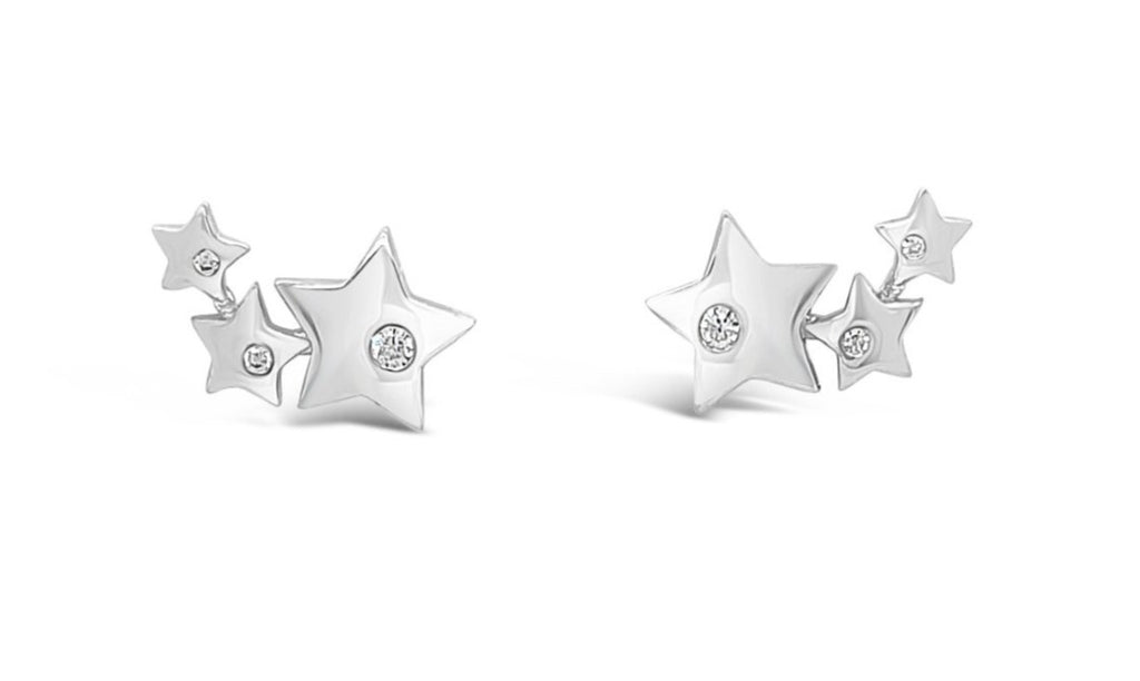ABSOLUTE STERLING SILVER MULTI STAR EAR CLIMBER EARRING SE189SL