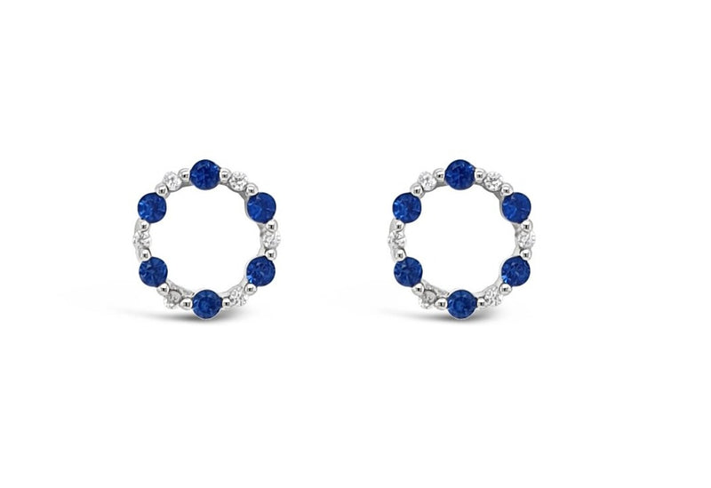 ABSOLUTE STERLING SILVER ROUND CLEAR & BLUE CRYSTAL EARRINGS SE196MB
