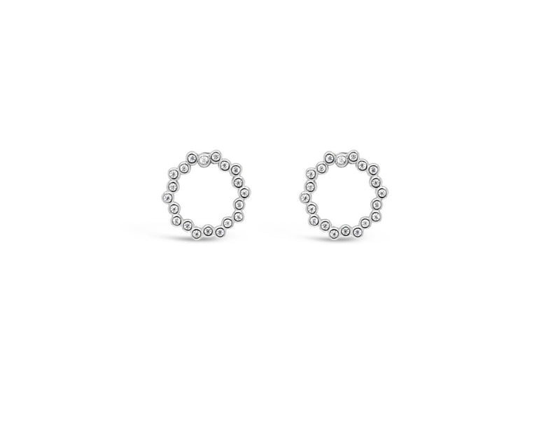 "ABSOLUTE STERLING SILVER ""CIRCLE"" CLEAR CRYSTAL EARRINGS SE198SL"