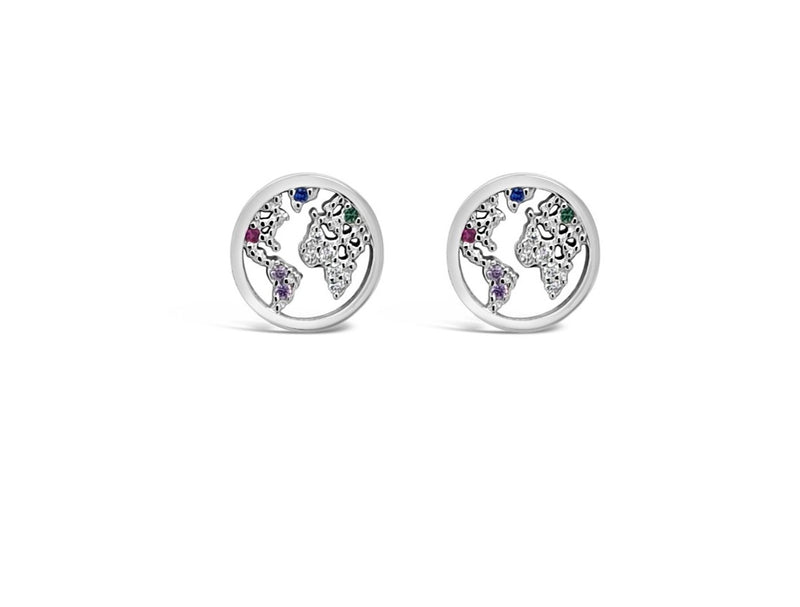 "ABSOLUTE STERLING SILVER ""GLOBE"" RAINBOW CRYSTAL EARRING SE199RB"