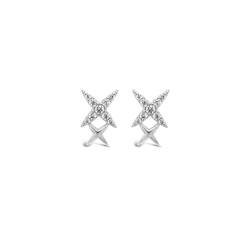 ABSOLUTE STERLING SILVER DOUBLE X CRYSTAL EARRING SE205SL