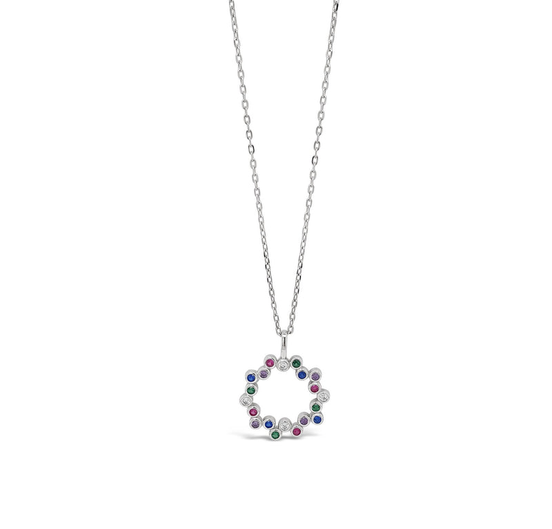 "ABSOLUTE STERLING SILVER ""CIRCLE"" RAINBOW CRYSTAL PENDANT  SP169RB"
