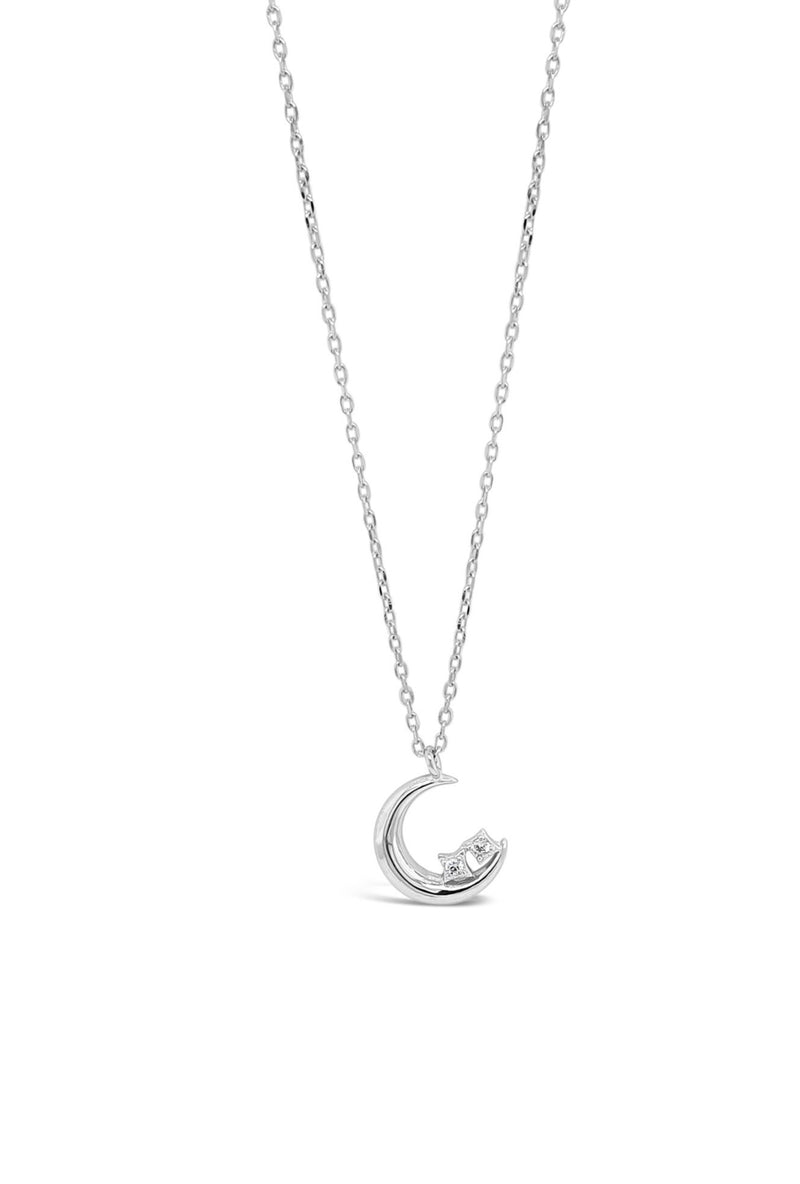 ABSOLUTE STERLING SILVER MOON WITH CRYSTAL PENDANT  SP175SL