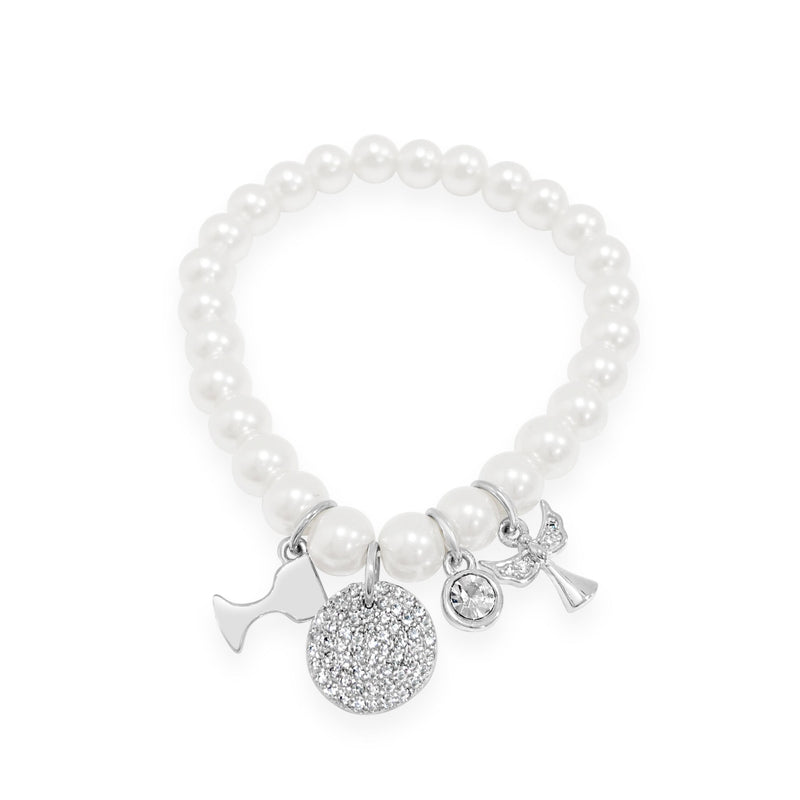 ABSOLUTE KIDS COMMUNION SILVER PEARL CHARM BRACELET CONFIRMATION