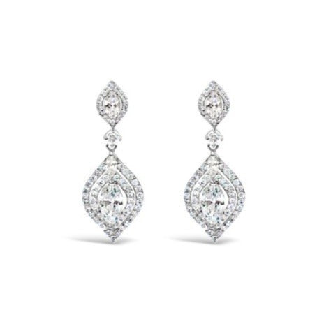 ABSOLUTE SILVER & CRYSTAL ART DECO EARRINGS E499
