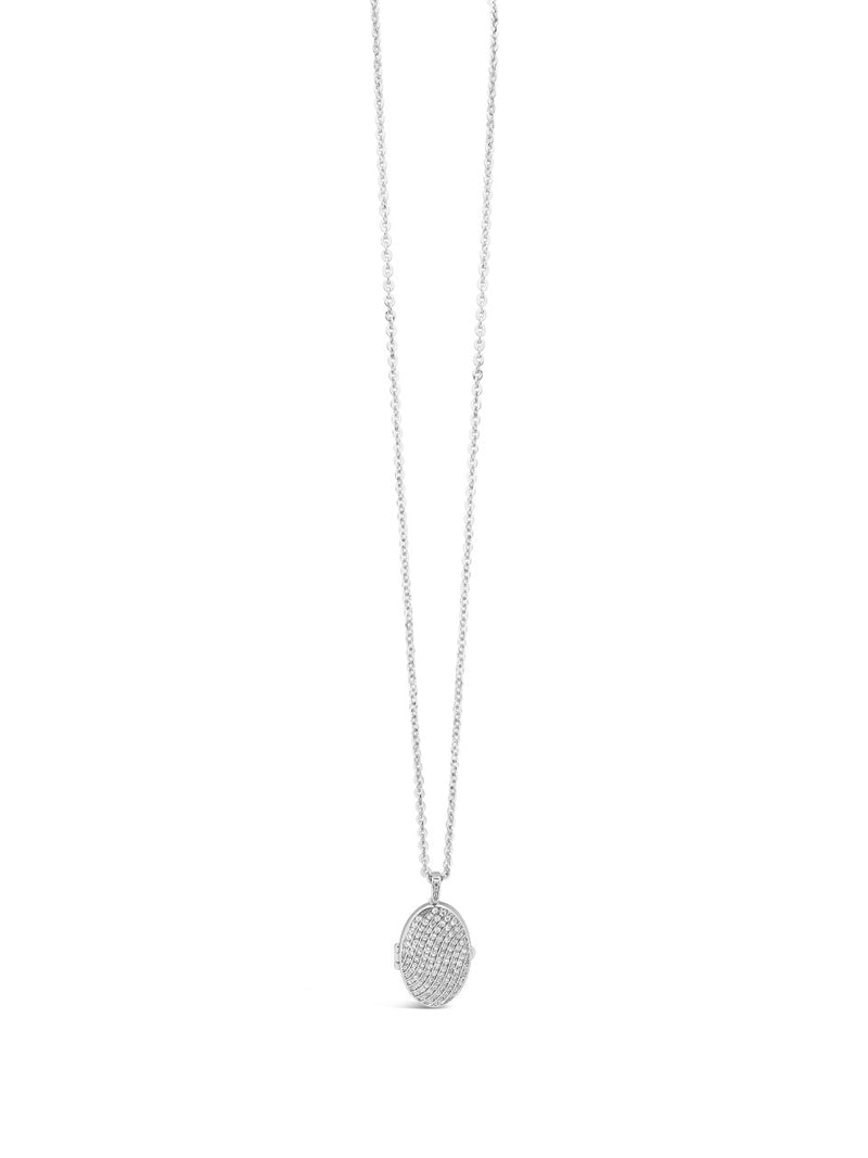 ABSOLUTE SILVER LOCKET PENDANT WITH CRYSTALS N2111SL