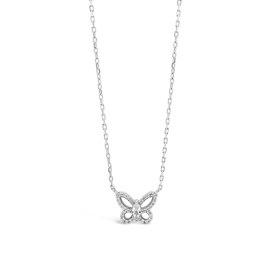 ABSOLUTE KIDS SILVER CRYSTAL BUTTERFLY PENDANT CONFIRMATION COMMUNION