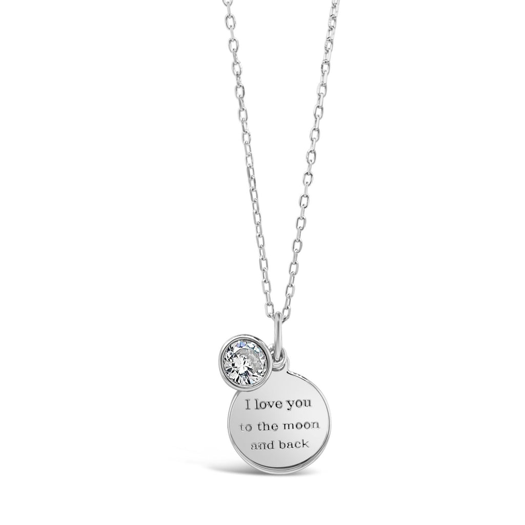 ABSOLUTE KIDS ENGRAVED SILVER CRYSTAL CHARM PENDANT COMMUNION CONFIRMATION LOVE