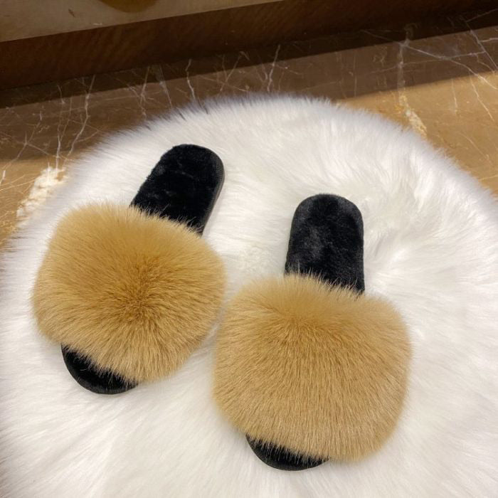FLUFFY FAUX FUR SLIDER SLIPPERS