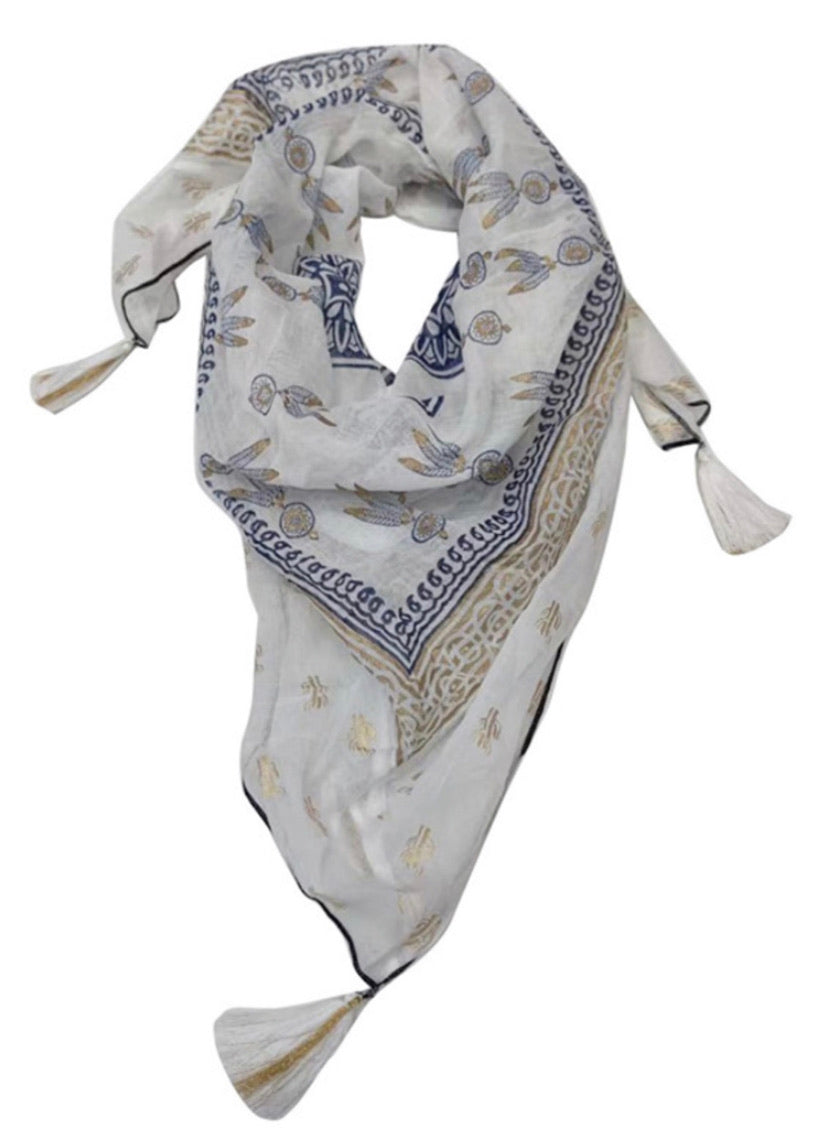 INDIAN COTTON DREAMCATCHER PATTERN TASSEL SCARF