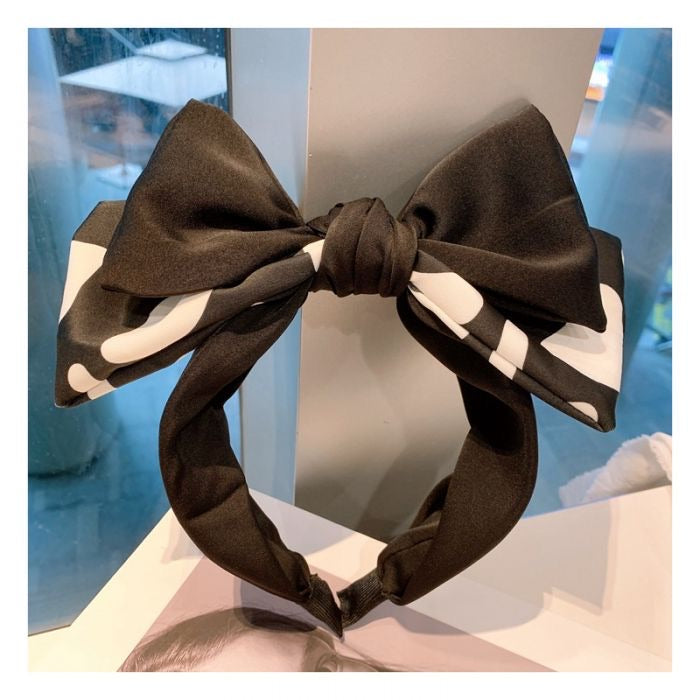 TWO LAYER BOW WIDE HAIRBAND