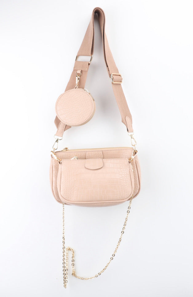 CROC PU MULTI CROSSBODY BAG