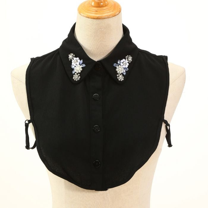 CRYSTAL & JET BEAD DECORATED BLACK COLLAR