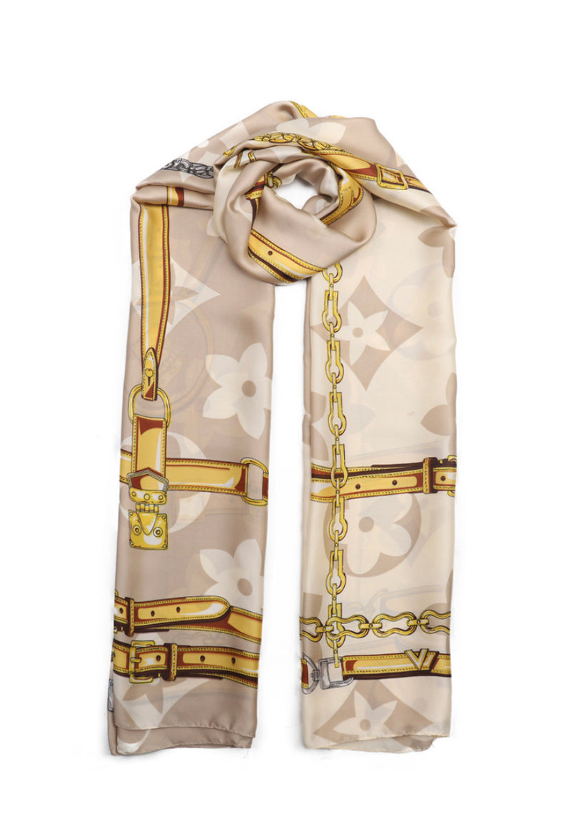 DESIGNER INSPIRED LARGE PATTERN CHAIN  PRINT SCARVES