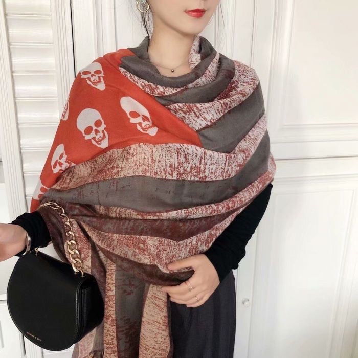 SUPER SOFT COTTON SKULL PATTERN SCARF