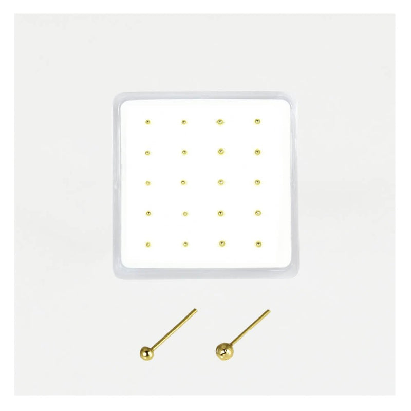 GOLD PLATED STERLING SILVER PLAIN STRAIGHT BACK NOSE STUD