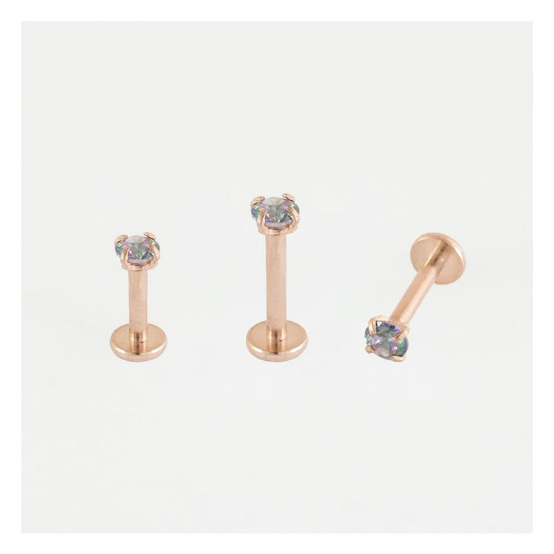 ROSE GOLD CLAWSET RAINBOW ZIRCON LABRET/EARBAR