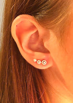 ABSOLUTE STERLING SILVER TRIPLE HALO EAR CLIMBER EARRING SE182SL