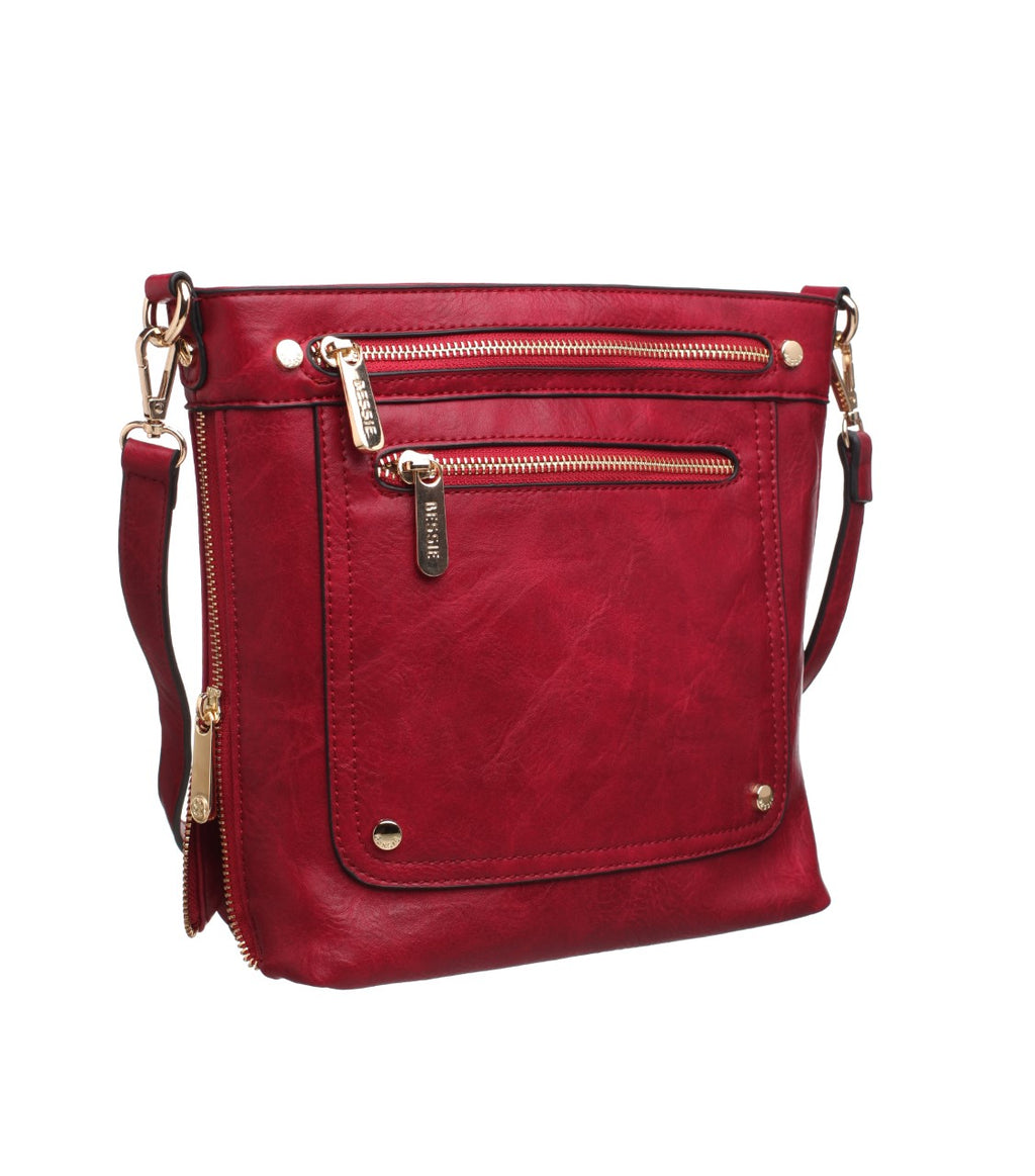 crossbody, bessie bags, red