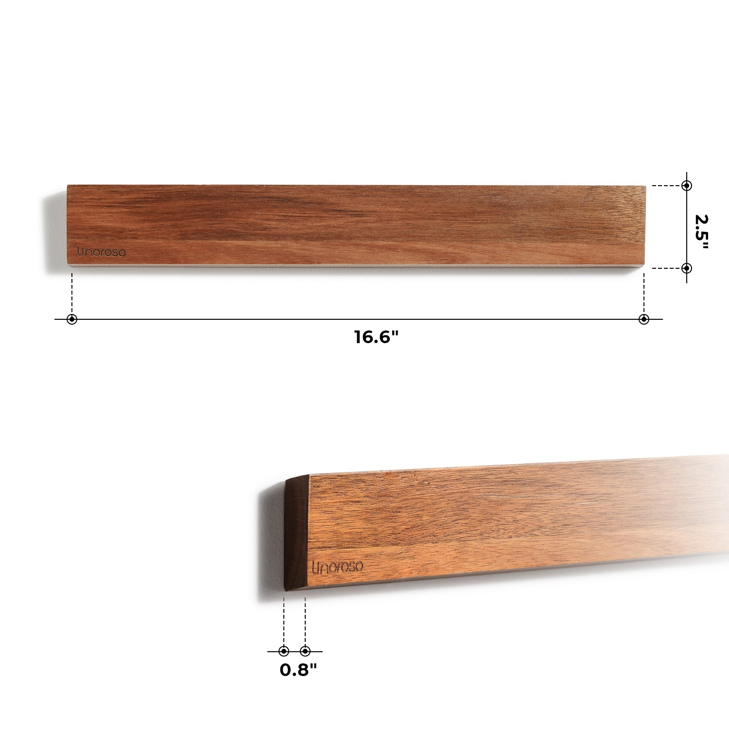 16 1/2 inch Wood Wall Mounted Magnetic Knife Strip