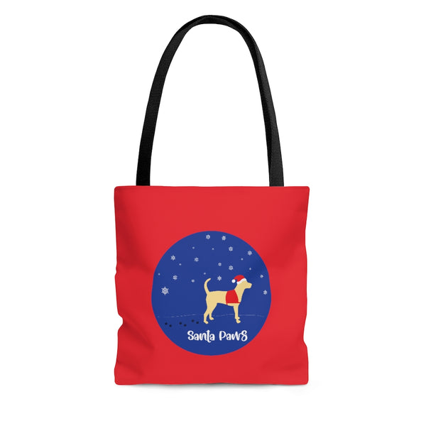 Labrador Service Dog Tote Golden on Red