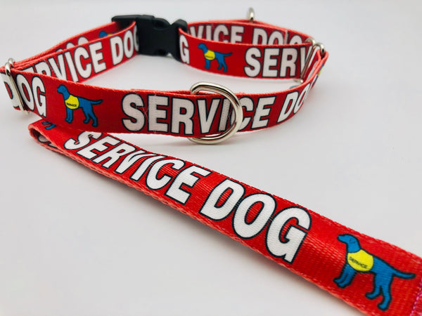 Dog Collar Flat Martingale Collar Deluxe & Optional Bringsel Bold Red Service Dog