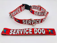 Dog Collar Flat or Martingale Collar Deluxe & Optional Bringsel Bold Red Service Dog