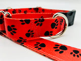 Service Dog Collar Red Black Paws  Bringsel