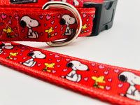 Dog Collar Flat or Martingale Deluxe & Bringsel Snoopy/Woodstock Hearts Red