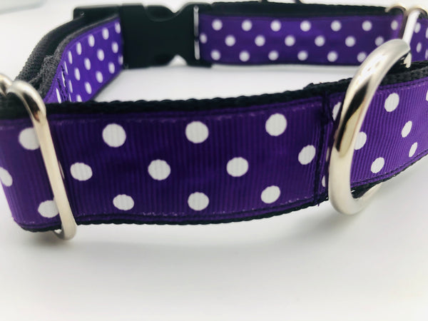 Dog Collar Flat or Martingale Deluxe & Bringsel Purple/White Polkadots