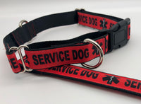 Service Dog Collar Red Black