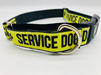 Service Dog Collar Flat or Martingale Deluxe & Optional Bringsel  Yellow/Black