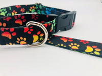 Service Dog Collar Black/Multicolored Paws