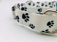 Service Dog Collar White Black Paws Flat Collar