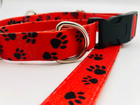 Service Dog Collar Red Black paws