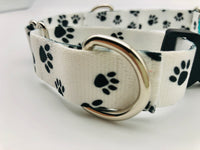 Service Dog Collar White Black Paws Martingale