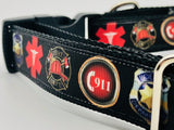 Dog Collar Flat/Martingale Deluxe Bringsel Call 911, Emergency Services Ribbon, First Responders, First Aide