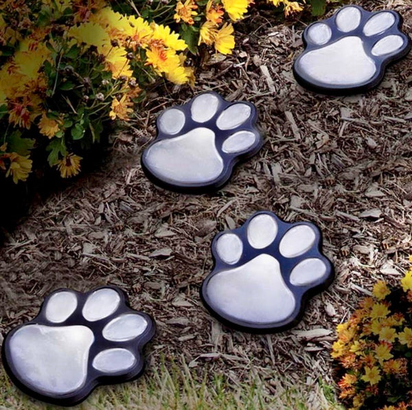 Paw Print Solar Lights for Garden and Outdoors  3 Colors 4 lights
