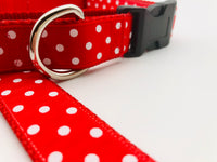 Dog Collar Flat or Martingale Deluxe & Bringsel Red/White Polkadots
