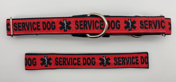 Service Dog Collar Red Black Matching Bringsel